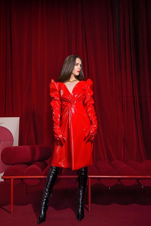 """Платье латекс c рукавами - перчатки """"Rouge"""""""
