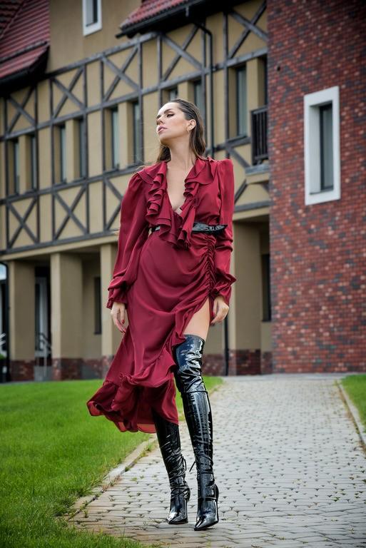 """Платье бордо с рюшами """"Adaline"""""""