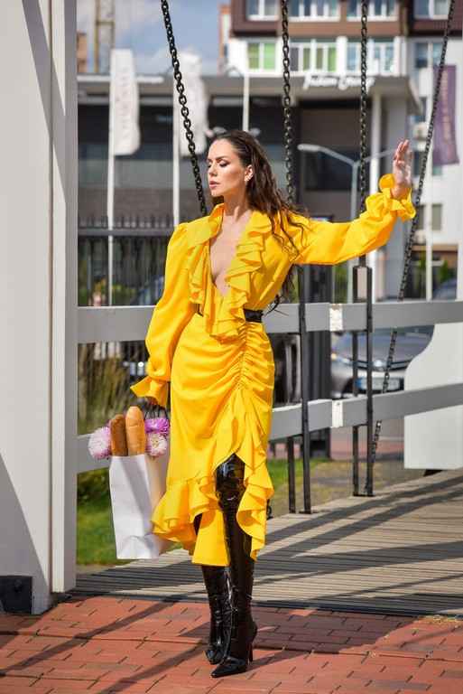 "Жёлтое платье с рюшами ""Paloma"""