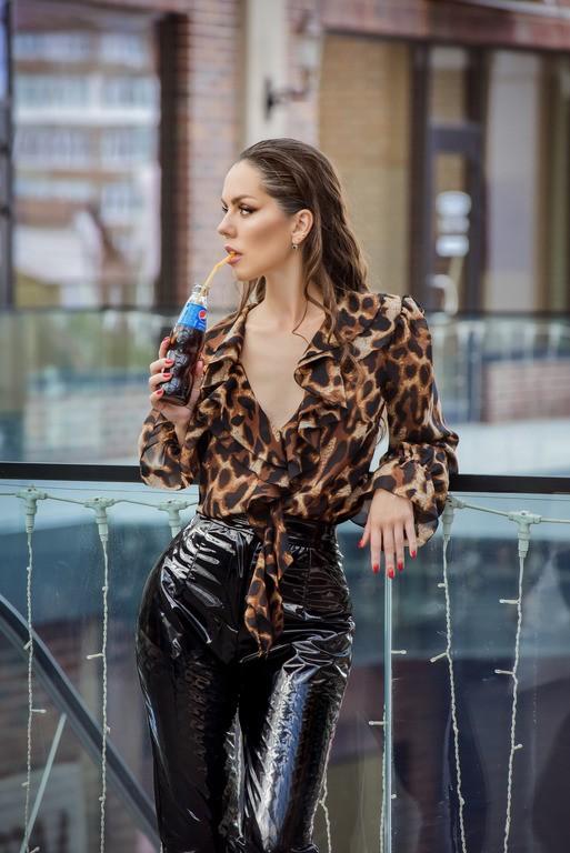 """Леопардовая блуза с рюшами """"Thea"""""""