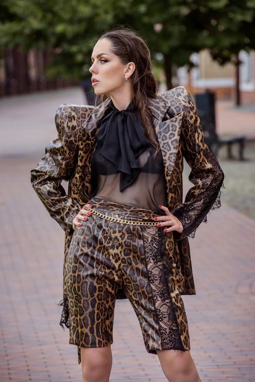 """Леопардовый пиджак с объёмными плечами """"Desiree"""""""